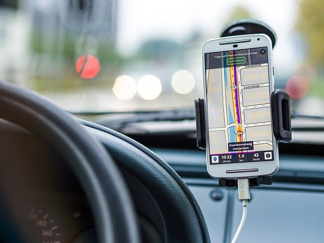 Driving while looking at navigation on phone
