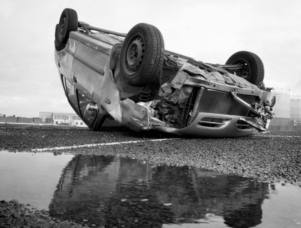 Rolled over car, car accident